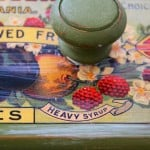Mod podge over antique can label on drawer