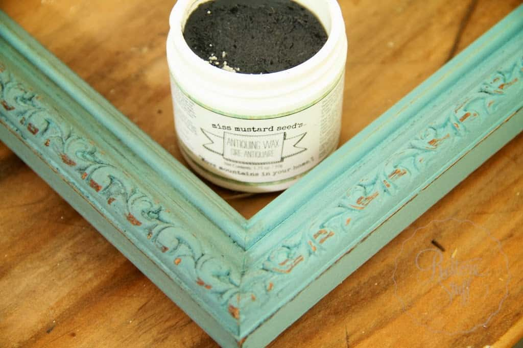 Antiquing waxed picture frame
