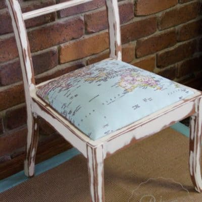Shabby Chic Map Chair Before & After Makeover
