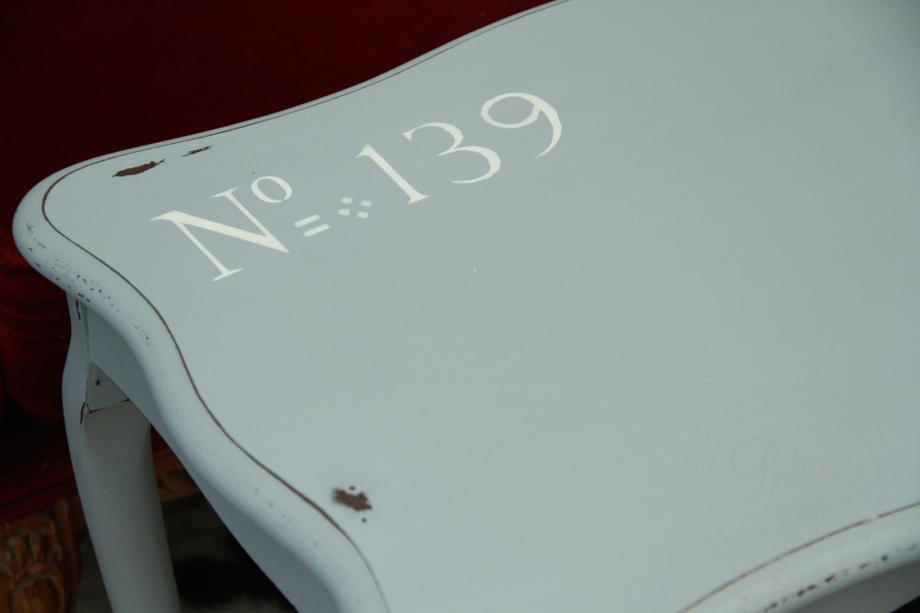 Shutter Gray stencil coffee table 20