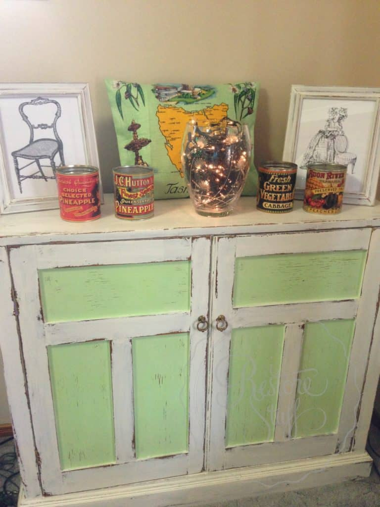 green and white shabby chic cupboard/sideboard
