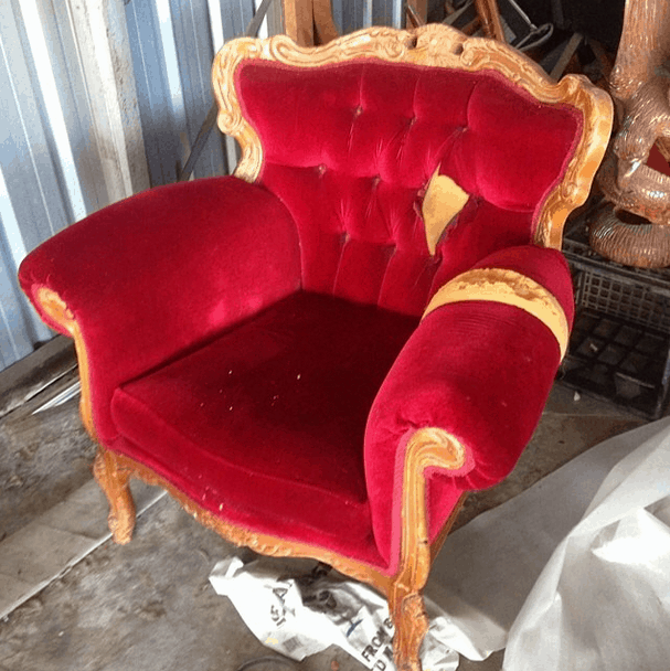 Red velvet couch single sofa seat