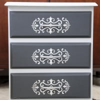Embossed stencil on drawers