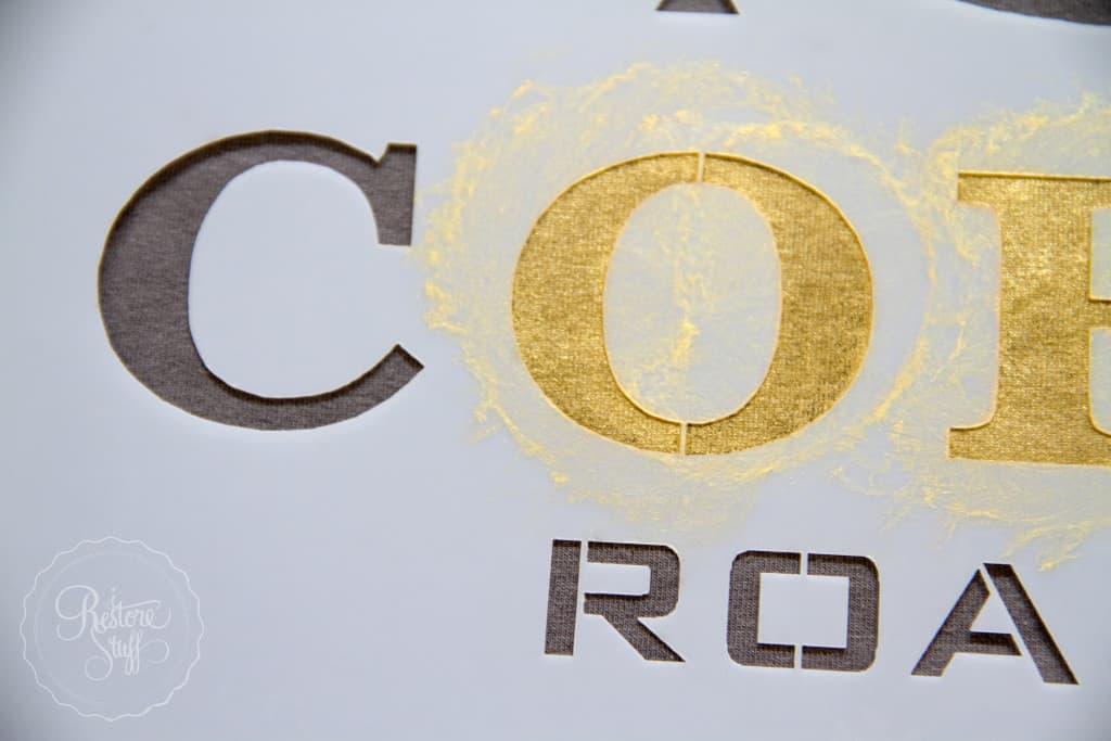 Metallic gold t-shirt stencil-1872