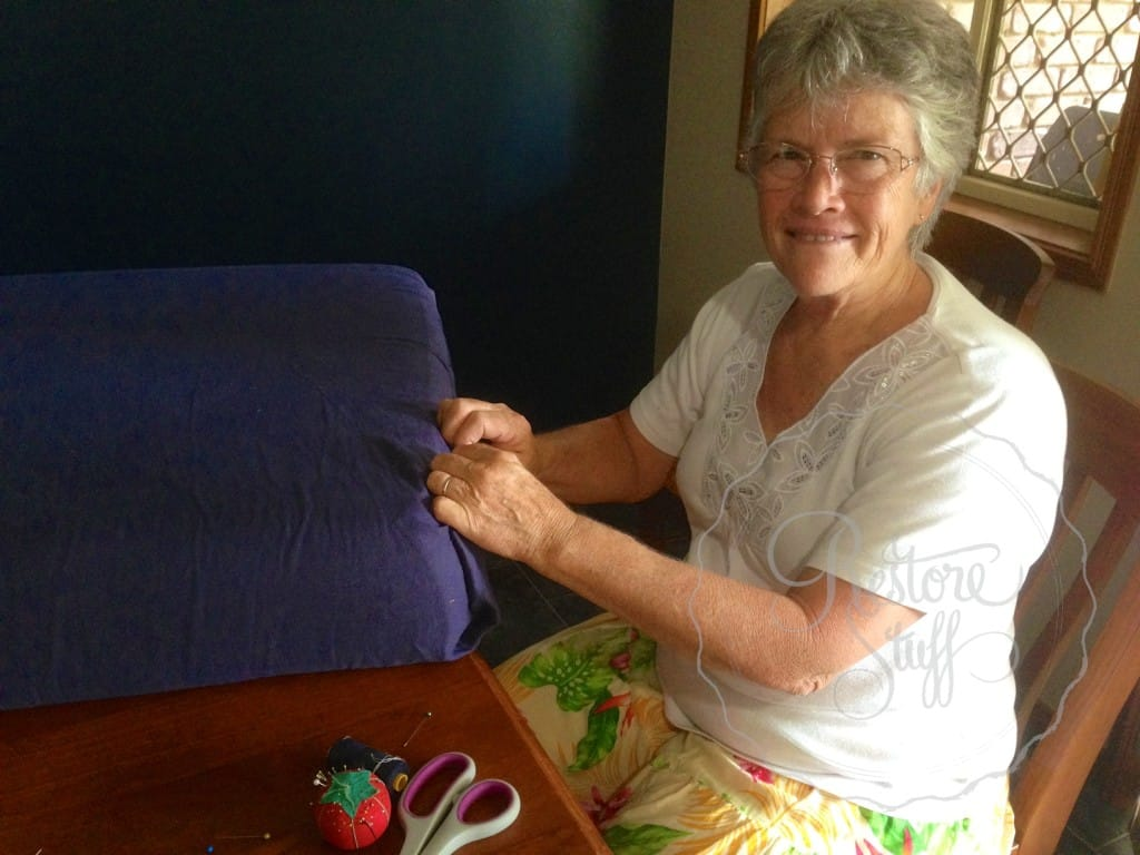 Mum working on couch cover