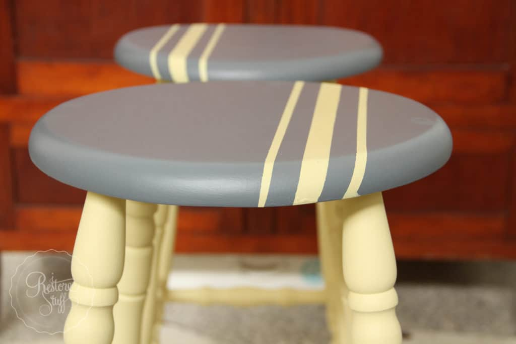 Twin Stools Painted in Fusion Mineral Paint - Aubusson
