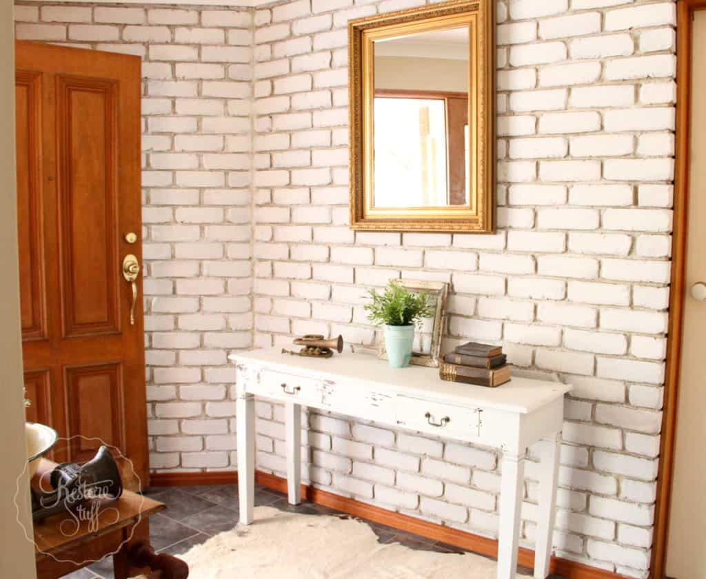 Painted brick wall - Miss Mustard Seed's Milk Paint