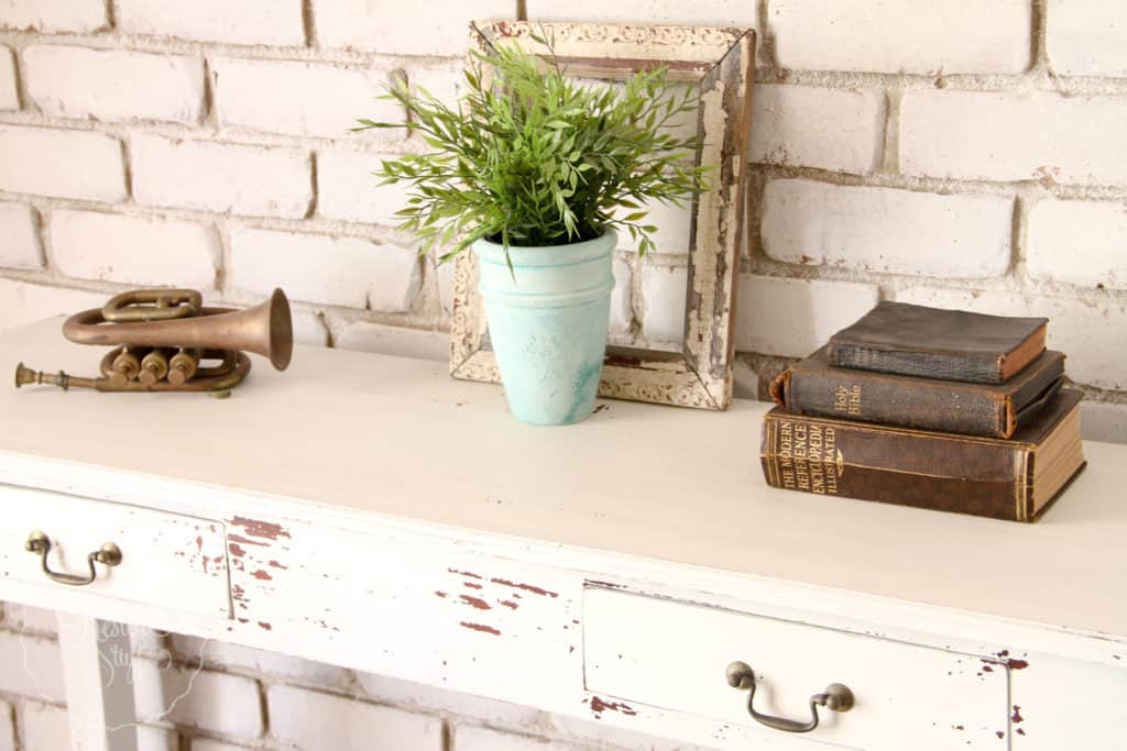 Brick Wall painted in Miss Mustard Seed's Milk Paint