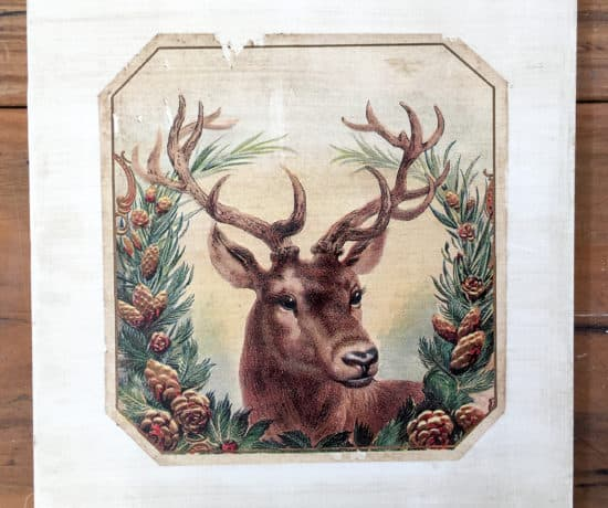 Christmas Deer Antique Sign