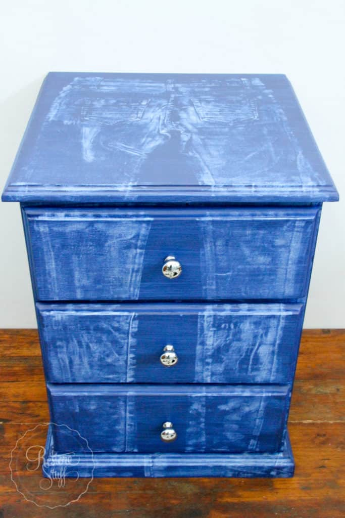 faux denim jeans on painted furniture