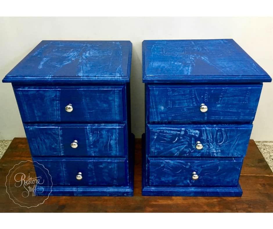 Faux denim painted furniture