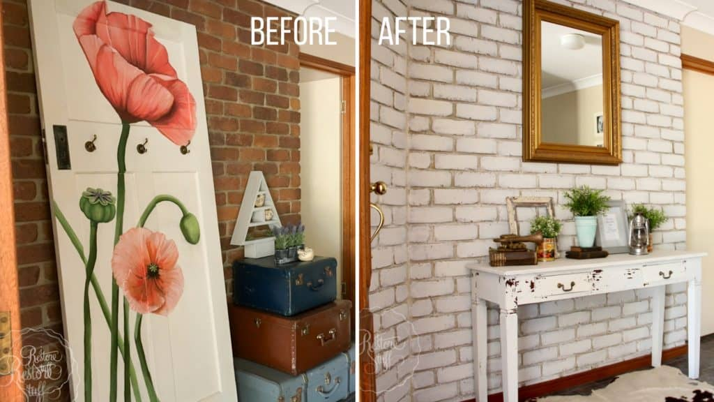 Milk Painted Brick Wall Before and After