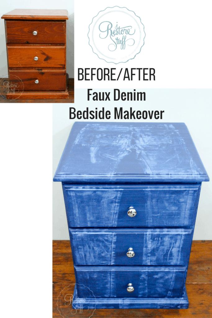 Faux Denim Bedside Makeover