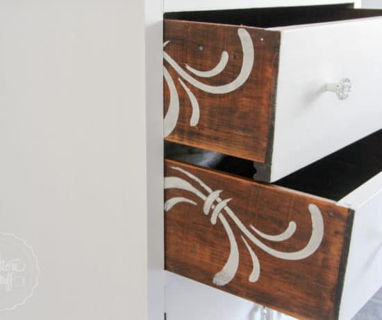 Stencilled drawers