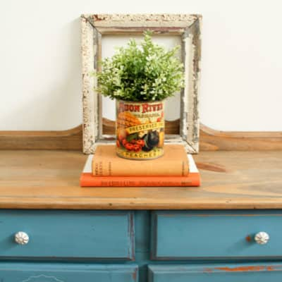 French Enamel Side Cupboard with Black Wax