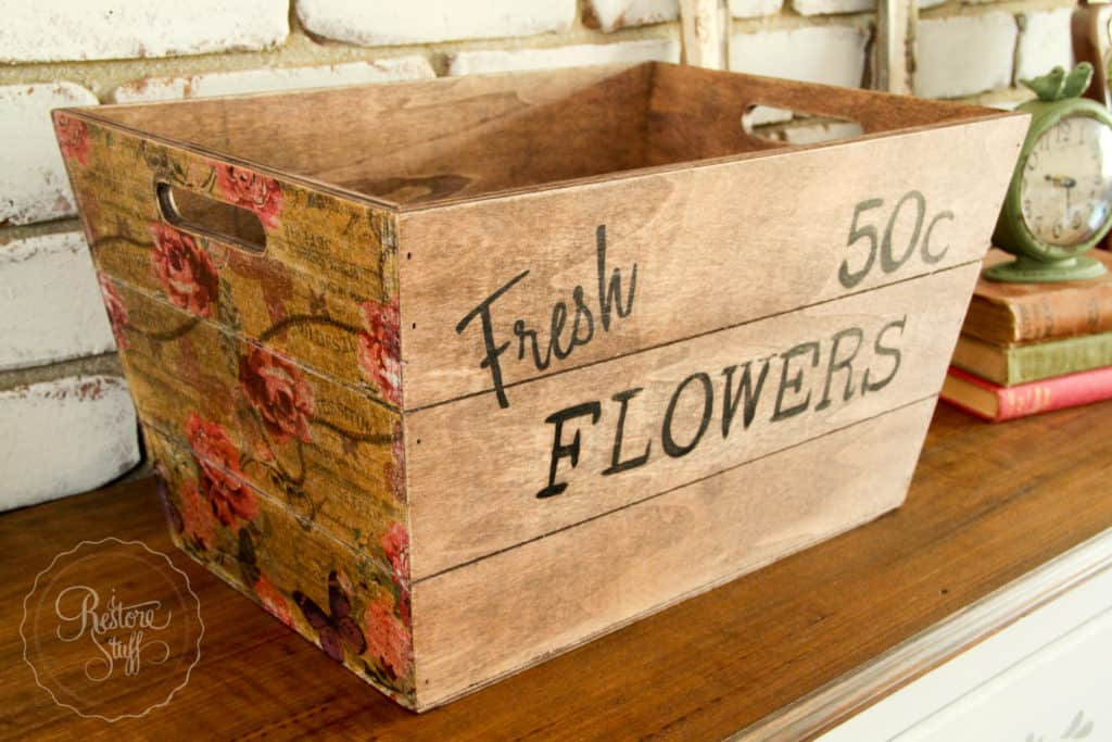Kmart Wooden Box Hack For Spring Using Napkins Amp Transfer
