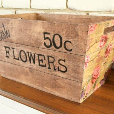 Kmart Wooden Box Hack for Spring using Napkins & Transfer Gel
