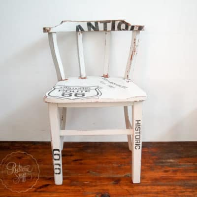 Milk Painted Chair with Old Sign Stencils