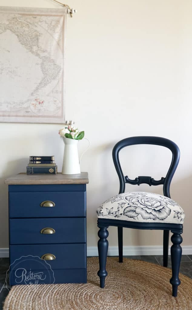 Midnight blue bedside drawers chair
