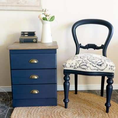 Midnight Blue Balloon Back Chair & Bedside Revamp