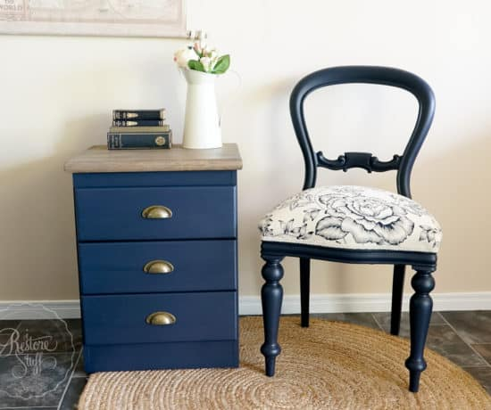 Midnight Blue chair and bedside