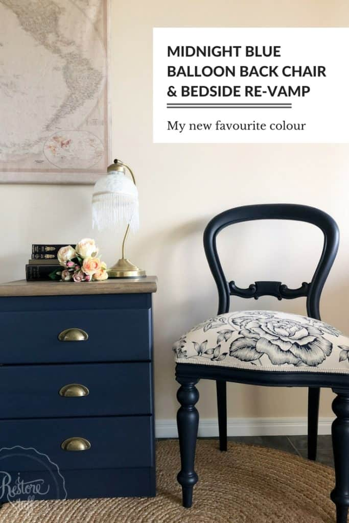 Midnight Blue balloon back chair & bedside drawer makeover
