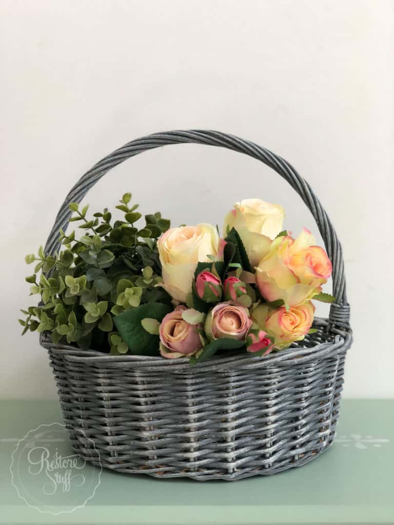 French country basket with grey wash look