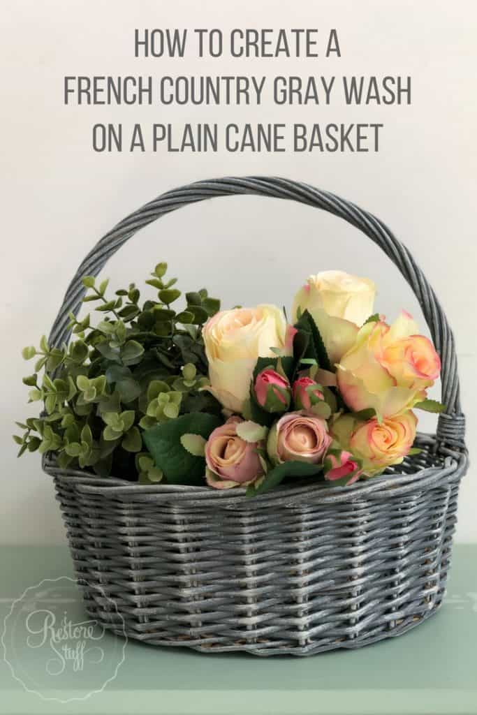 French country gray wash basket
