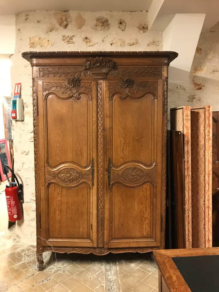 Antique Wardrobe in shop in Versailles