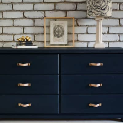 Midnight Blue Dresser Drawer Set & Leather Handle Swoon