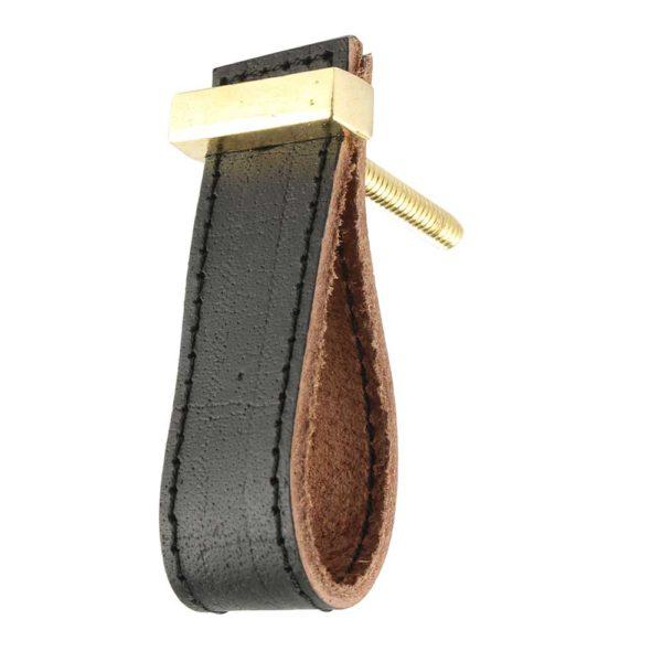 Black faux leather pull knob