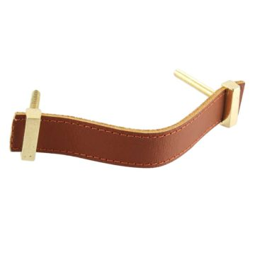 Faux Leather Pull Handle Brown