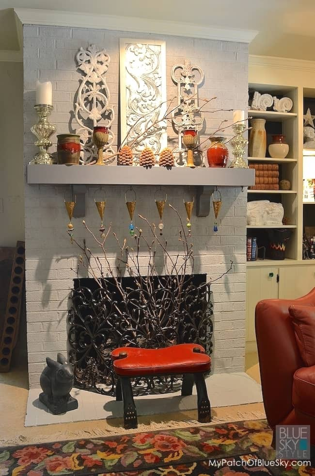 Paint a brick wall fireplace