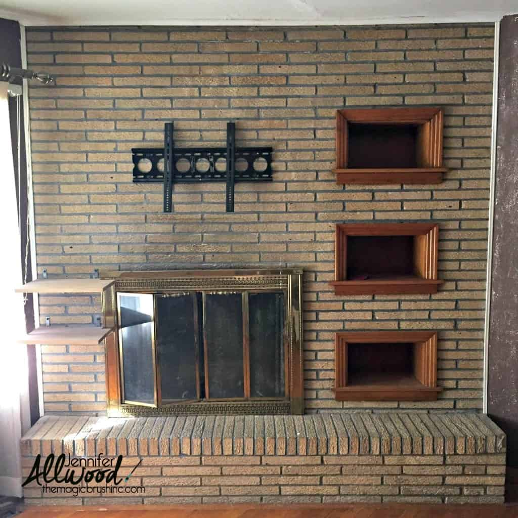 plain brick wall with fireplace