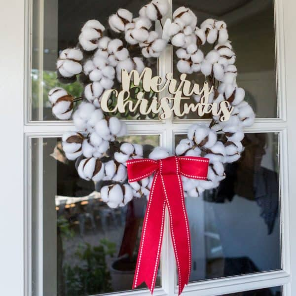 cotton wreath red bow
