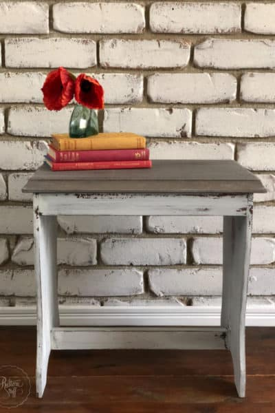 Farmhouse White Stool with SFO
