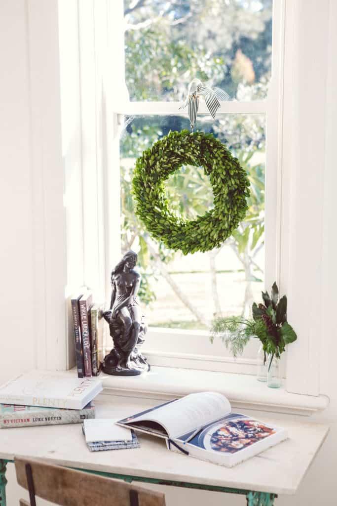 Preserved Boxwood Wreath in window