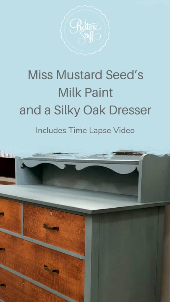 Pinterest image for silky oak dresser makeover