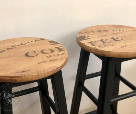 industrial farmhouse stool makeover