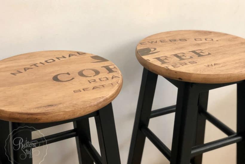 industrial farmhouse stool makeover