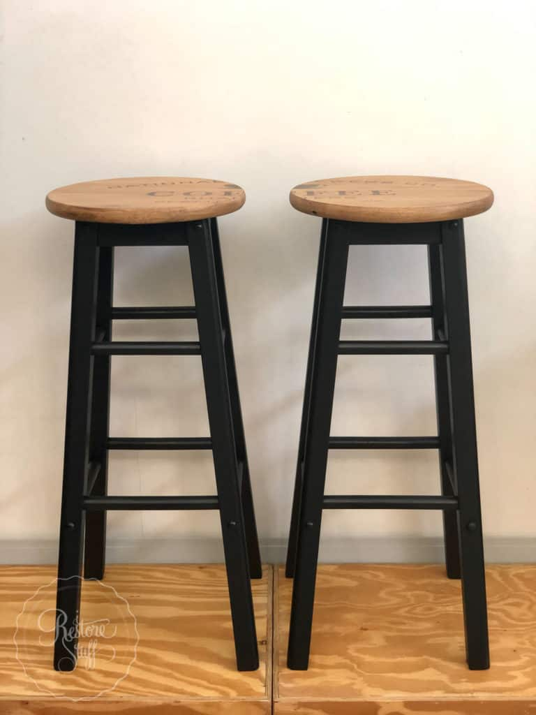 Stencil Industrial Farmhouse stools