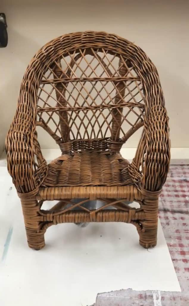 Before white washing this cane furniture toy chair.