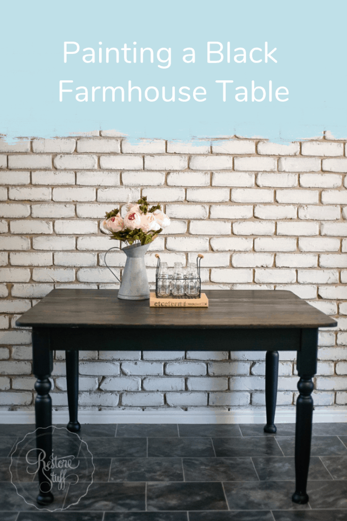Pinterest pin for Black Farmhouse Table