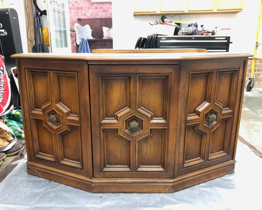 70s tv cabinet before makeover
