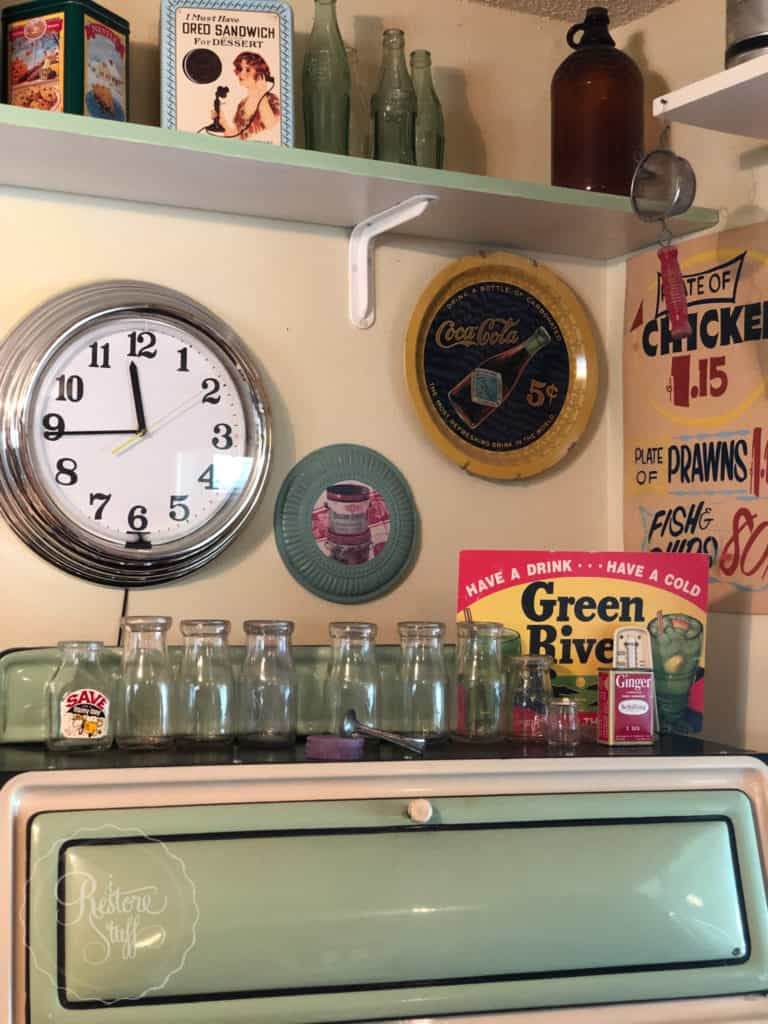 antiques & collectables bottles on stove top