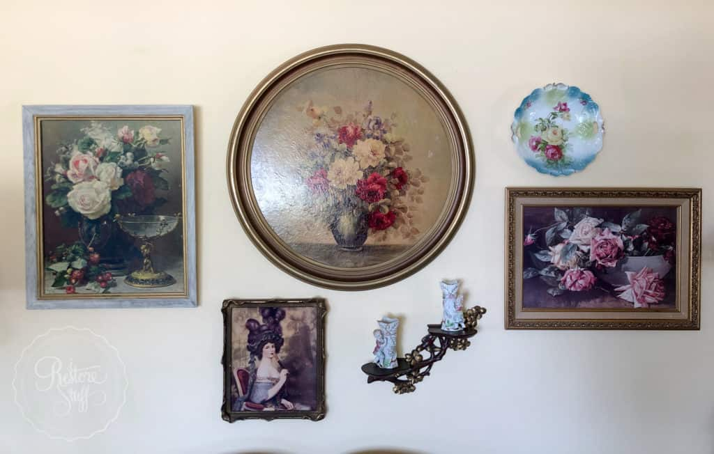 gallery wall of antiques & collectables