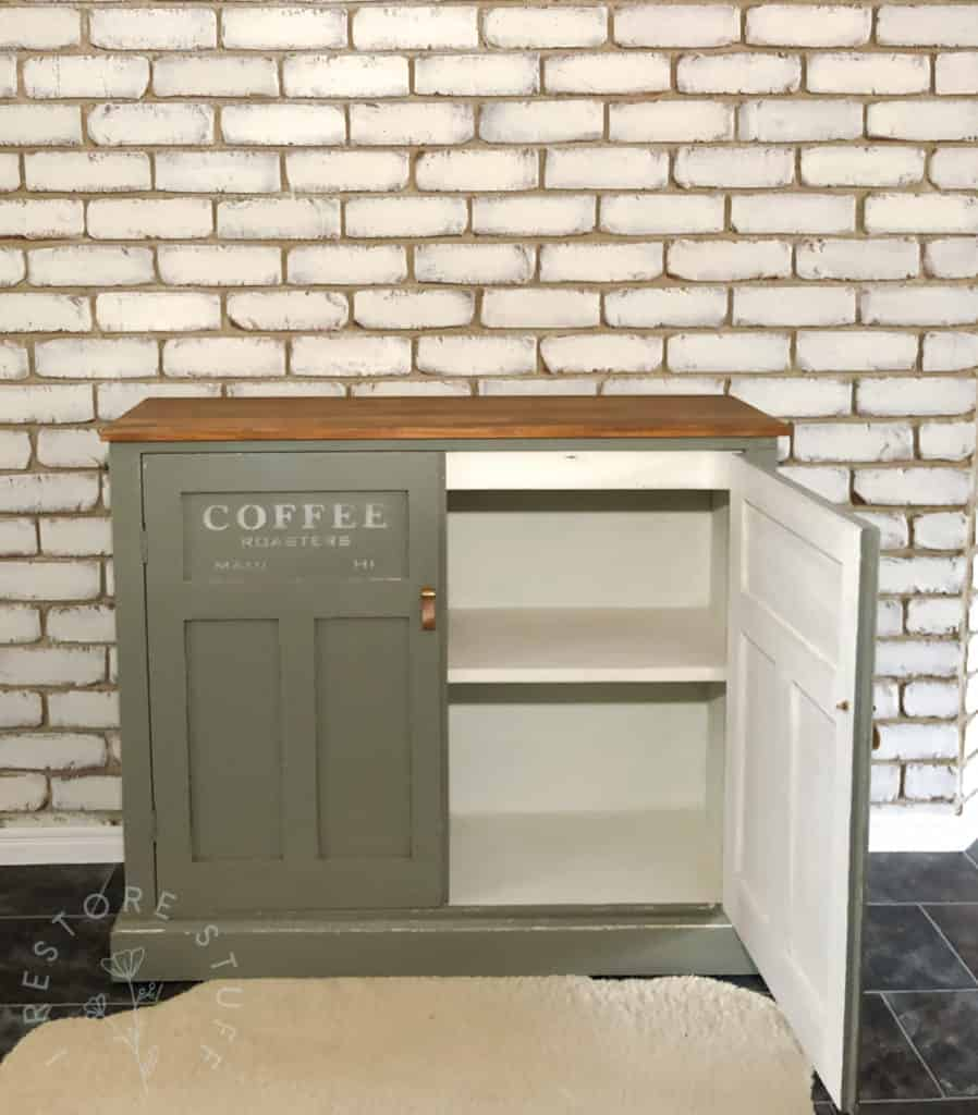 coffee station cupboard finished. one door open.