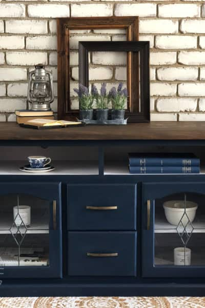 Midnight blue TV console