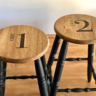 A Number Stencil Industrial Stool Makeover!