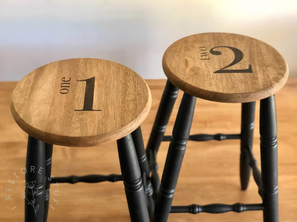 numbered bar stools Vinyl number stencils farmhouse stencils Bar stool stencils antique stencils bar stool numbers stencils for paint